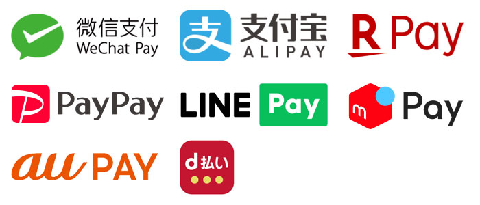 VT-T20Mで対応可能なQR決済ブランドはWeChat Pay、ALIPAY、Rpay、PayPay、LINE Pay、au pay、d払い、楽pay、merpayになります。 ※オプション
