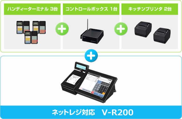 ハンディーターミナル 3台+コントロールボックス 1台+キッチンプリンタ 2台+ネットレジ対応VX-100